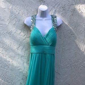 Cache Prom Aqua Dress NWT